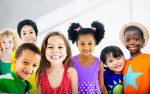 Group of ethnically diverse smiling children